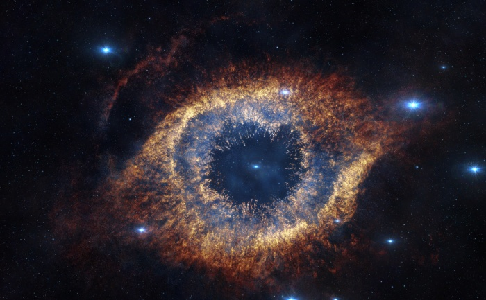 The Helix Nebula is 700 light-years away from Earth, but screened before audience's eyes in reconstructed 3D in Hidden Universe, released in IMAX® theatres and giant-screen cinemas around the globe and produced by the Australian production company December Media in association with Film Victoria, Swinburne University of Technology, MacGillivray Freeman Films and ESO. The original image was taken by ESO's VISTA Telescope.